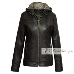 Nala Black Leather Coat For Women with Hoodie