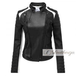 Stylish Black & White Women's Leather Jacket