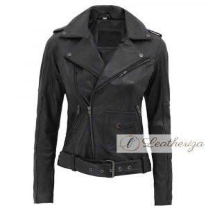 Women's Black Motorcycle Leather Jacket