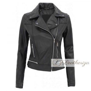 Racer girl black leather jacket