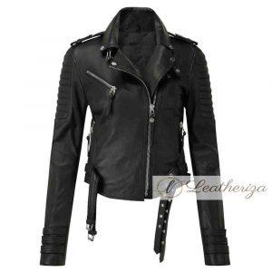 Women's Black Racer Leather Jacket