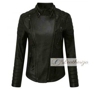 Leeza Racer Stylish Black Leather Jacket For Women