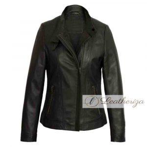 Esme Biker Black Leather Jacket For Women