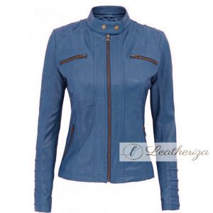 Admiral Blue Women's Real Leather Jacket