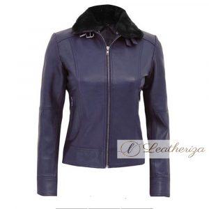 Indigo Shearling Blue Leather Jacket For Women