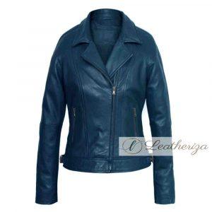 Esme Blue Biker Leather Jacket For Women