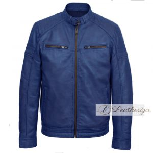 Stylish Cobalt Blue Biker Men's Leather Jacket