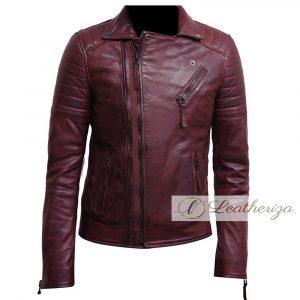 Zipper Biker Red Burgundy Leather Jacket For Men