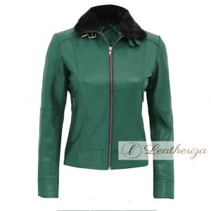 Basil Green Shearling Women's Leather Jacket