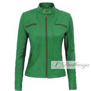 Parakeet Green Elegant Leather Jacket For Women
