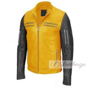 Yellow & Black Biker Leather Jacket For Men