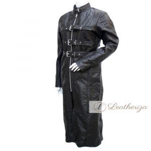 Spidey Women's Black Leather Trench Coat