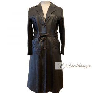 Stylish Elegant Women's Brown Leather Trench Coat