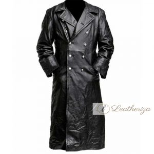 Pitch Black Long Leather Trench Coat For Women