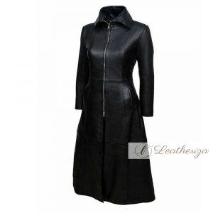 Obsidian Black Leather Trench Coat For Women