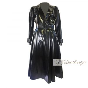 Voguish Long Black Women's Leather Trench Coat