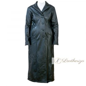 Charcoal Black Women's Leather Trench Coat