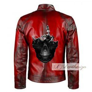 Classic Skull Red Biker Men's Leather Jacket
