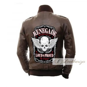 Skull Brown Biker Jacket