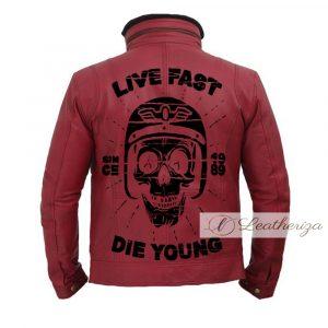 Live Fast Die Hard Red Leather Jacket For Men