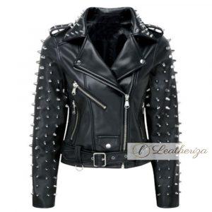 Voguish Studded Women's Black Biker Leather Jacket