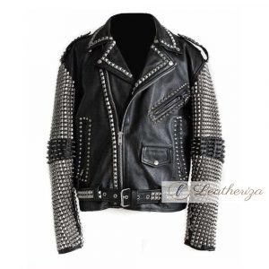 Spikes & Studs Black Leather Jacket For Women