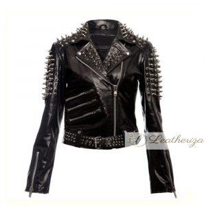 Soot Black Studded Biker Leather Jacket For Women