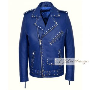 Blue Studded Women's Leather Jacket