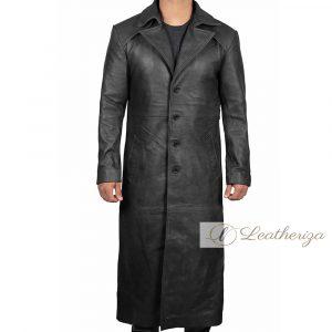 Elegant Long Black Leather Trench Coat For Men
