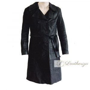 Stylish Grease Black Leather Trench Coat for Men