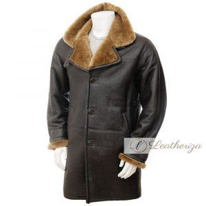 Short Brown Shearling Leather Coat for Men
