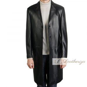 Voguish Jet Black Leather Trench Coat For Men