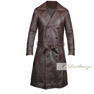 Brunette Brown Leather Trench Coat for Men