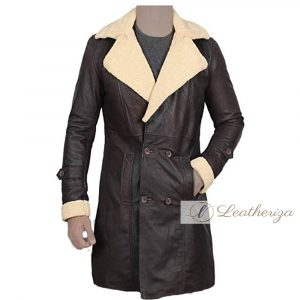 Voguish Dark Brown Shearling Leather Coat For Men