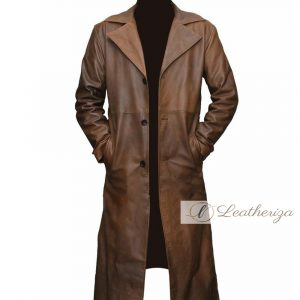 Stylish Walnut Brown Leather Trench Coat For Men