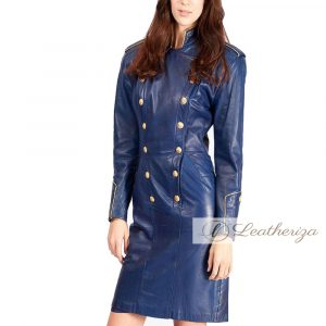 Stylish Admiral Blue Leather Trench Coat For Women