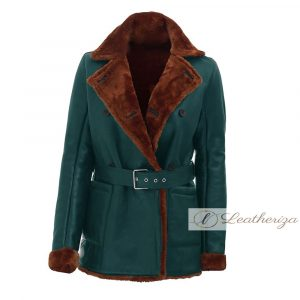Pine Green Shearling Leather Coat For Women