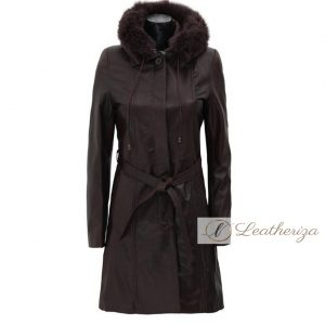 Ebony Black Leather Trench Coat For Women With Shearling Hoodie