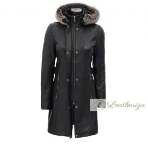 Nala Shearling Black Leather Trench Coat For Women