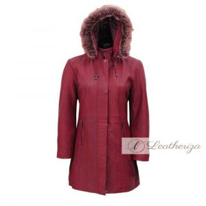 Shearling Burgundy Red Leather Trench Coat For Women with Hoodie
