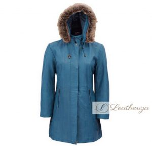 Stylish Shearling Blue Leather Trench Coat For Women with Hoodie