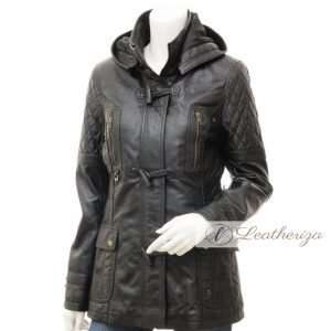 3/4 Midnight Black Leather Coat For Women with Hoodie