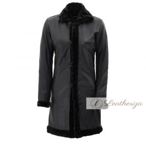 Raven Shearling Black Leather Trench Coat For Women