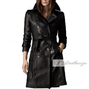 Shaylee Black Leather Trench Coat For Women