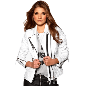 Biker Genuine Sheepskin Leather Jacket for Women White